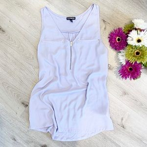 Lilac Zip Front Sheer Tank by Express